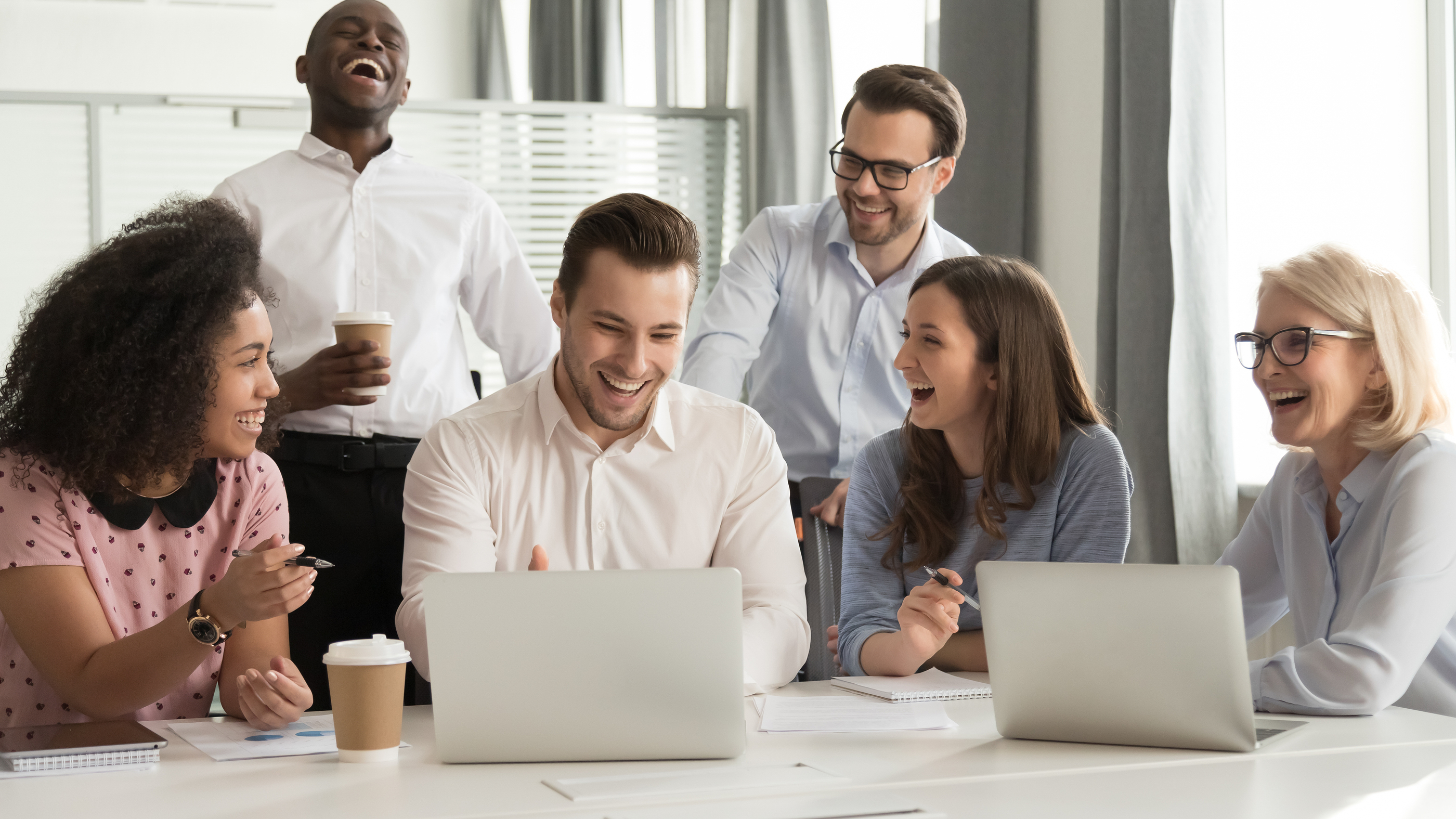 bigstock-Happy-Diverse-Office-Workers-T-288781663